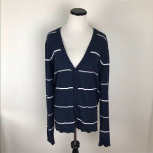 Vince Striped Cardigan Sweater Navy & White
